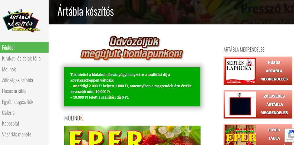 honlap weboldal karbantartás szerkesztés portfólió ártábla